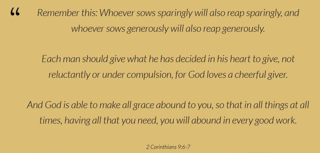 pull quote 2 Corinthians 9:6-7